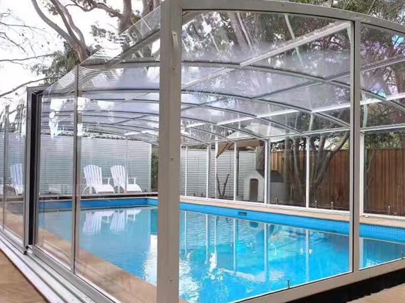 阳光房 泳池 PC耐力板安装效果图